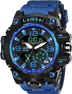 Lamkei Analogue Digital Blue Silicon Strap Sports Watch for Men - LAM-1286