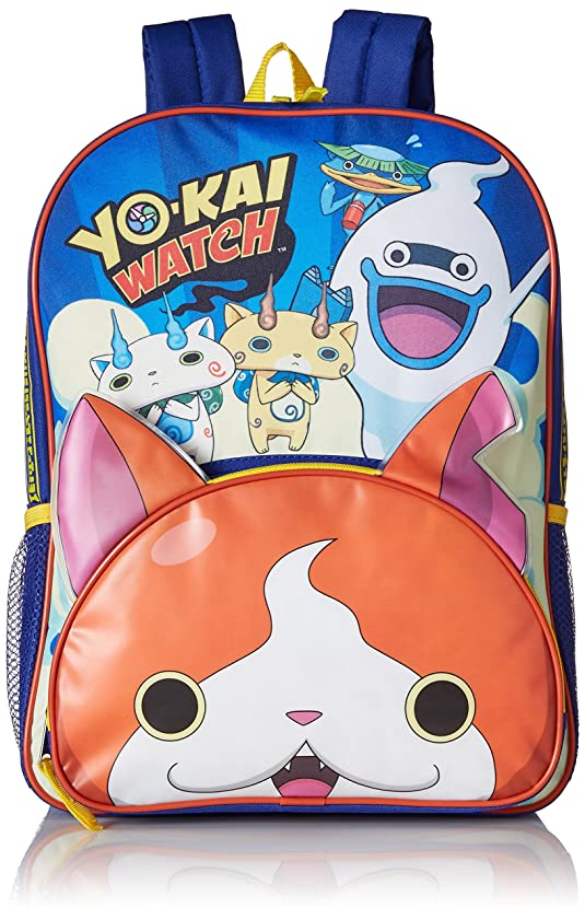 Yo-Kai Watch Boys' 3D Ears Front Pocket 16 Inch Backpack, Blue