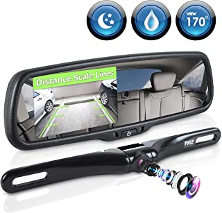 Pyle Backup Car Camera Rear View Mirror Screen Monitor System with Parking & Reverse Safety Distance Scale Lines, OEM Fit,...