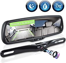 Pyle Backup Car Camera Rear View Mirror Screen Monitor System with Parking & Reverse Safety Distance Scale Lines, OEM Fit, Waterproof & Night Vision, 170° Angle Adjustable, 4.3