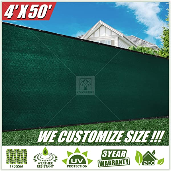 ColourTree 2nd Generation 4 X 50 Green Fence Privacy Screen Windscreen Cover Fabric Shade Tarp Netting Mesh Cloth Commercial Grade 170 GSM Heavy Duty 3 Years Warranty CUSTOM SIZE AVAILABLE
