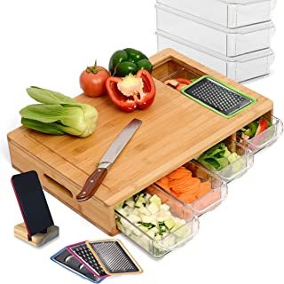 NOONCHIHOME 100 Percent Bamboo Cutting Board with 4 Sliding Drawer Trays and lips. Complete Set for Kitchen, Large 17.22 x...