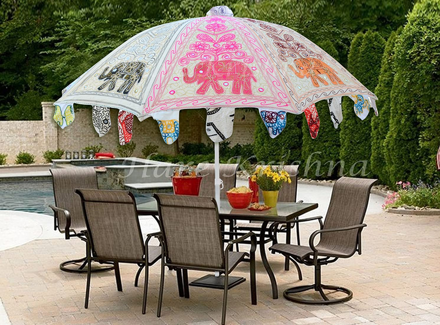 Hare Krishna Indian Vintage Outdoor Handmade Embroidery Design Cotton Garden Umbrella Gifts Parasol (White) 70 x 90 Inches