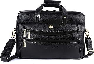 Hammonds Flycatcher Genuine Leather Men Leather 15.6 inch Laptop Messenger Bag LB166BL (Black)