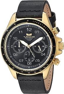 Vestal 'ZR2' Quartz Stainless Steel and Leather Casual Watch, Color:Black (Model: ZR243L25.BK)