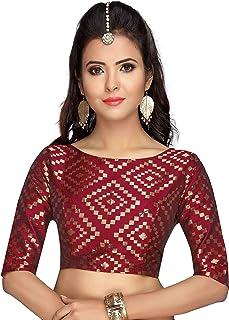55f34a5f4fdd8b Studio Shringaar Women's Brocade & Georgette Back Button Elbow Length  Sleeves Readymade Blouse