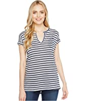 Allen Allen - Stripe Split-Neck Tee