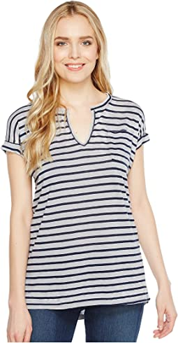 Stripe Split-Neck Tee