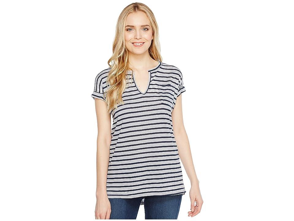 Allen Allen Stripe Split-Neck Tee (Pale Grey) Women's T Shirt