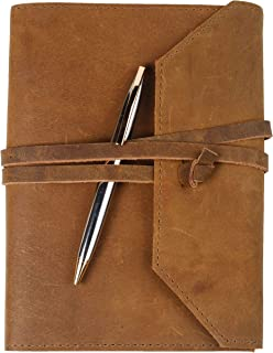 Refillable Leather Journal | A5 Writing Notebook Cover with Inner Pockets | Premium Pen and Pen Holder | 200 Pages | 9 x 6 Inches Leather Bound Journal for Men & Women, Best Gift for Travel Diary