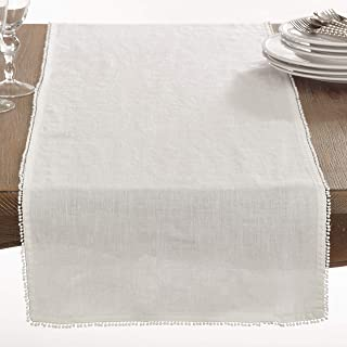 SARO LIFESTYLE 15062.I1672B Pomponin Collection PomPom Design Table Runner, 16