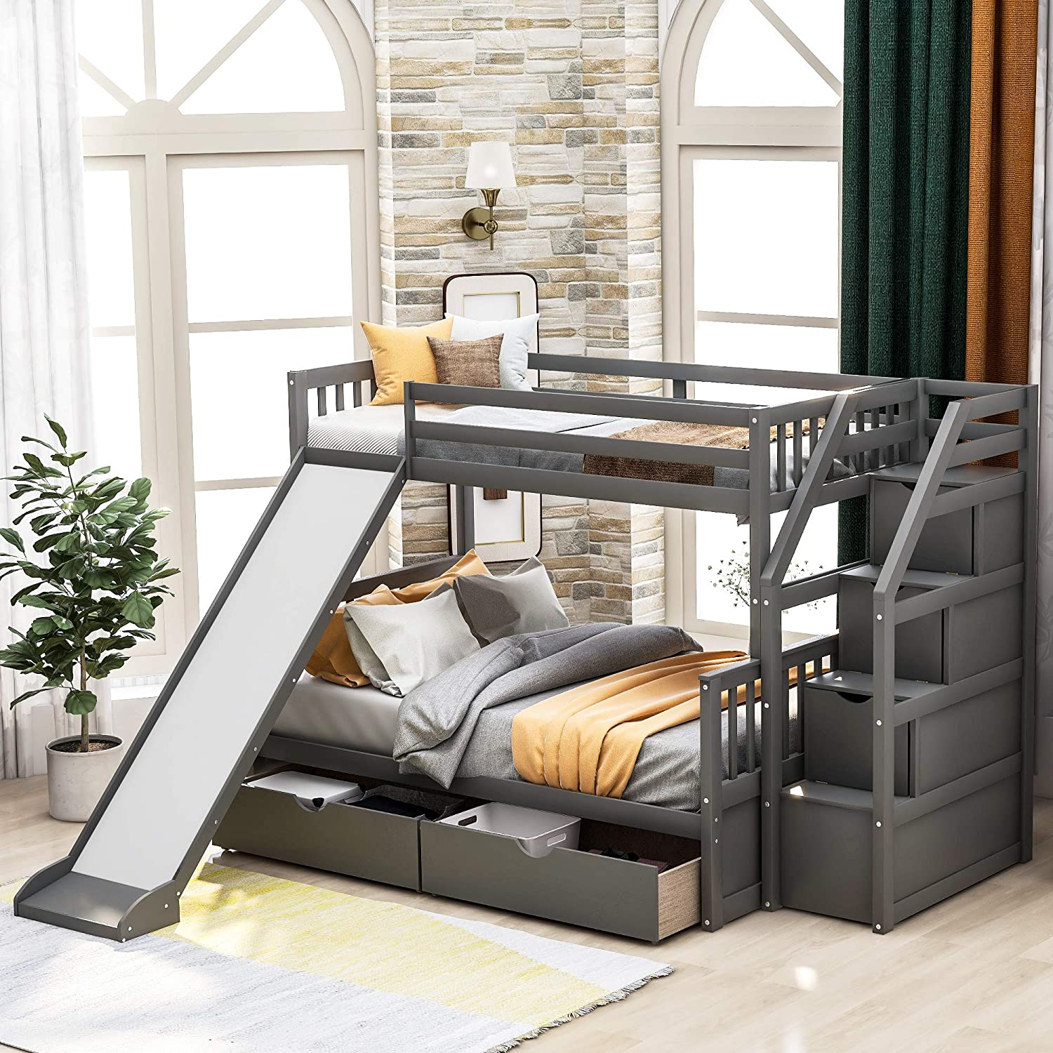 Buy Twin Over Full Bunk Bed With Slides For Kids And Teenagers Solid Wood Bunk Bed Frame With Drawers And Storage No Box Spring Needed Grey Online In Vietnam B08dcrh5m4