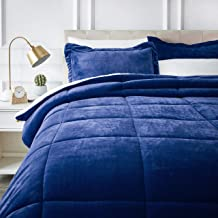 AmazonBasics Ultra-Soft Micromink Sherpa Comforter Bed Set - Full or Queen, Navy Blue