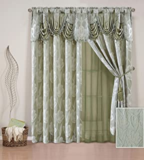 Elegant Home Window Curtain Drapes All-in-One Set with Valance & Sheer Backing & Tassels for Living Room, Bedroom, Dining Room, and Sliding Doors - Leia (Sage)