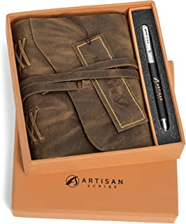 LEATHER JOURNAL Handmade Artisan Notebook Or Sketchbook With Unlined Cotton Paper For Men & Women 7 X 5 Inches Perfect For Travel Diary And Art Makes A Great Gift for People Of All Ages (7X5 Gift Box)