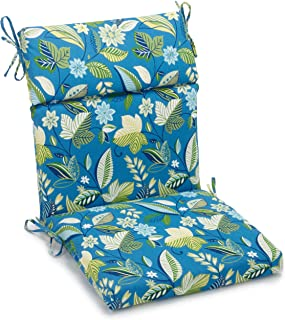 Blazing Needles Outdoor Spun Poly 22-Inch by 45-Inch by 3-1/2-Inch 3-Section Chair Cushion, Skyworks Caribbean