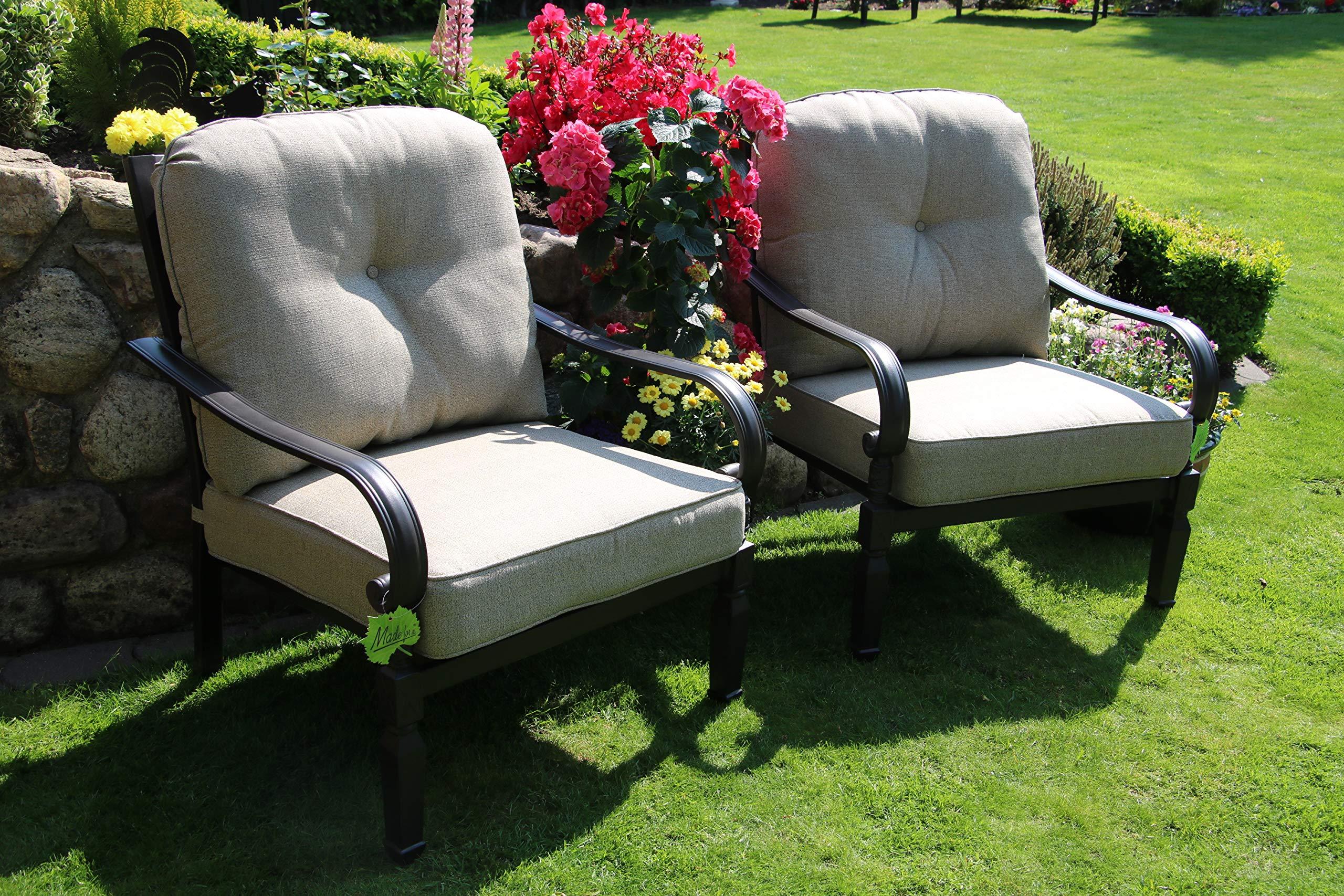 Hanseatisches Im- & Export Contor GmbH Aluminio Fundido Jardín Sillón Set, Muebles de jardín Muebles de jardín, Exterior Sillón (: Amazon.es: Jardín