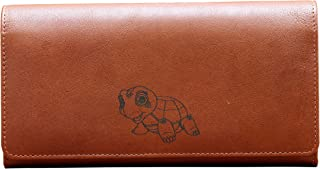 Genuine Leather Ladies Flap Purse with Added RFID Protection (Turtle the Peace Maker)