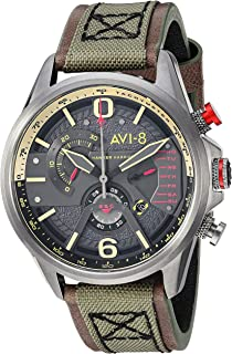 Men's 'Hawker Harrier II' Quartz Stainless Steel and Leather Aviator Watch