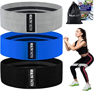 Health Tactix Fabric Booty Bands: Non-Slip Thick Fabric Resistance Loop Bands Set of 3, Plus eBook Exercise Guide & Recipes, for Legs & Butt Workout at Home or Gym, Bonus Carry Bag