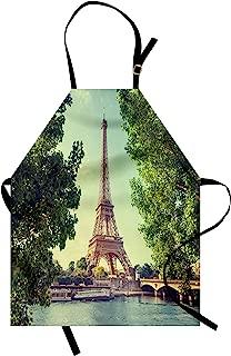 Ambesonne Paris Apron, Eiffel Tower Seine River Picture France European Landmark Image, Unisex Kitchen Bib with Adjustable Neck for Cooking Gardening, Adult Size, Green Mint