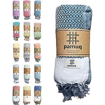 DecoKing Strandtuch gro/ß gestreift 90x170 cm Baumwolle Frottee leicht Badetuch Fransen Fuchsia beige Cappuccino Santorini