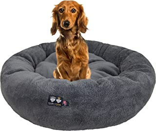 Ultra Plush Deluxe Comfort Pet Dog & Cat Grey Snuggle Bed (Multiple Sizes) - Machine Washable, Made in the USA, Reversibl...
