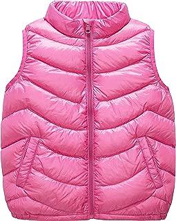 Boys Girls Puffer Down Vest, Kids Lightweight Sleeveless Jacket, Packable Outerwear Gilet