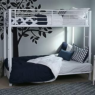 WE Furniture Modern Metal Pipe Twin Over Futon Bunk Kids Bed Bedroom Storage Guard Rail Ladder, White