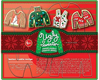 Fox Run 36039 Ugly Christmas Sweater Cookie cutters, 5 x 7.25 x 1 inches, Metallic
