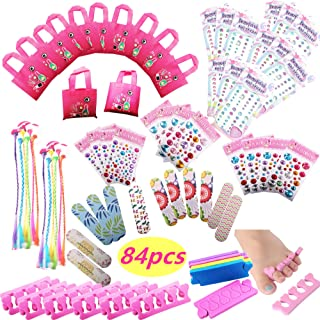 Spa Party Favors for Girls Multiple Spa Party Supplies- (12 Tote Bags, 12 MINI Emery Boards,12 Colored Hair Clip Braids, 2...