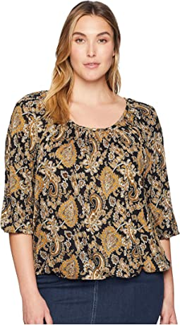 Plus Size Sweetheart Paisley Peasant Top