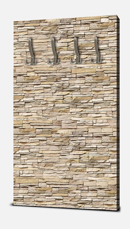 Wandmotiv24 Garderobe Asia Stone Natur Hochformat - 55x100 (BxH) - Dekorfolie Kratzschutz Matt Wandgarderobe Naturstein Asien Steinmauer M0239
