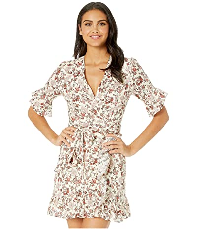 WAYF Kaitlyn Eyelet Wrap Mini Dress (Ivory Batik Paisley) Women
