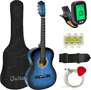 Best Choice Products 38in Beginner Acoustic Guitar Starter Kit w/Case, Strap, Tuner,..