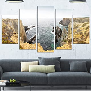 Design Art Rocky Bay Portugal Panorama Metal Wall Art, 60x32-5 Panels Diamond Shape