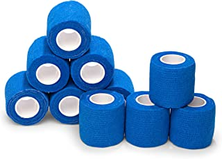 """10-Pack, 2"""" x 5 Yards, Self-Adherent Cohesive Tape, Strong Sports Tape for Wrist, Ankle Sprains & Swelling, Self-Adhesive Bandage Rolls, FDA Approved, Royal Blue Color, by California Basics"""