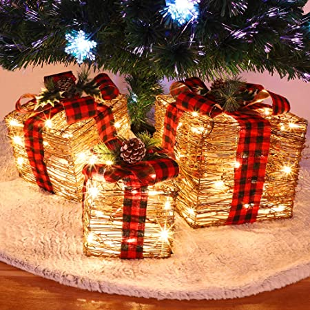 National Tree Company Lit Artificial Christmas Décor 3 Piece Set Includes Pre Strung White Lights Sisal Gift Boxes 10x10x10 6 Home Kitchen