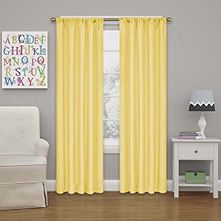 ECLIPSE Blackout Curtains for Bedroom - Kendall Insulated Darkening Single Panel Rod Pocket Window Treatment Living Room, 42
