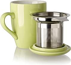 Adagio Teas 10086 Porcelain Mug with Infuser, 12 oz, Grasshopper