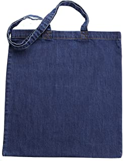 Green Atmos 6 pack Pre-Washed INDIGO Denim reusable grocery tote bag 14x15 inch with 27 inch long handle cotton super strong