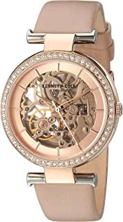Kenneth Cole New York Women's 'Auto' Quartz Brass-Plated-Stainless-Steel Geniune Leather Dress Watch, Color:Gold-Toned (Model: KC15107003/02)