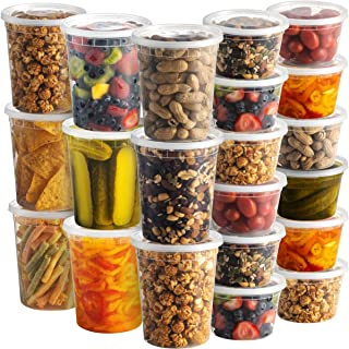 Deli Food Containers with Lids - (48 Sets) 24-32 Oz Quart Size & 24-16 oz Pint Size Airtight Food Storage Takeout Meal Pre...