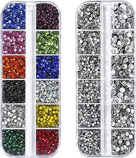 Dorhui 2 Set Hotfix Flatback Rhinestones Glass Rhinestones, 6 Sizes(SS6-SS30)Clear Crystal with 12 Colors 5 Size Flatback ...