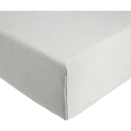 Amazon Basics 'Everyday' Drap-housse en coton, Gris clair 160 x 200 x 30 cm