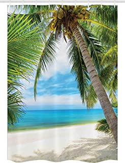 Ambesonne Ocean Stall Shower Curtain, Shadow Shade of a Coconut Palm Tree on White Sandy..