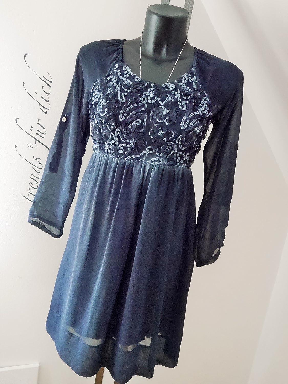 Damen Romantik Kleid Hangerchen Tunika Festlich Seide Blume Dunkel Blau Darkblue S M 36 38 2033 Amazon De Bekleidung