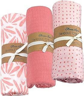 Oliver & Rain Pink/Pink Dot/Floral Swaddle 3-Pack