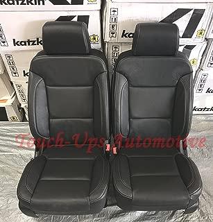 Katzkin Black Leather Seat Covers for 2016 2017 2018 Chevrolet Silverado Crew Cab LT
