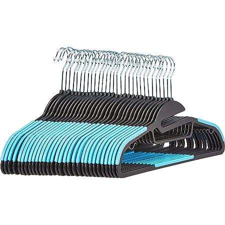 Amazon Basics Lot de 30 cintres en plastique ultra robustes antidérapants avec caoutchouc et barre horizontale Bleu